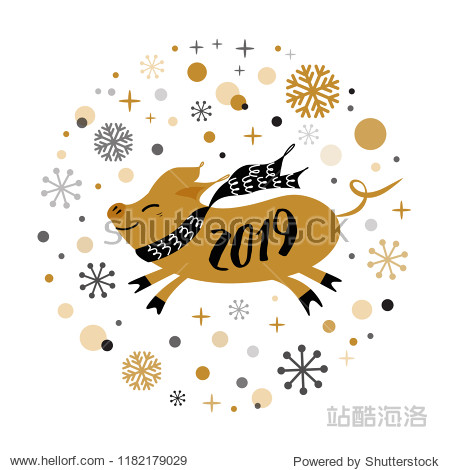 Merry Christmas and Happy New Year 2019 golden pig  gold snowflakes stars banner on white New Year design template for print sign postcard booklet leaflets poster banner invitation Vector illustration