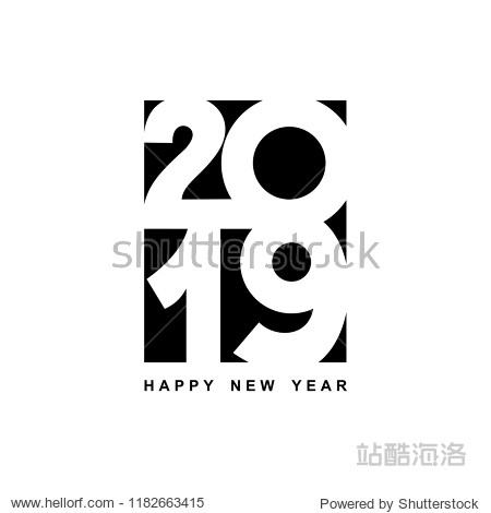 Happy New Year 2019 text design. Cover of business diary for 2019 with wishes. Brochure design template  card  banner. Vector illustration. Isolated on white background.