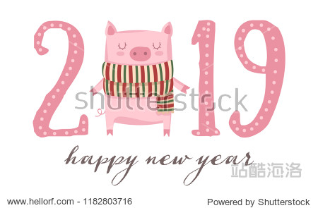 Creative poster for New 2019 Year with cute pig. Symbol of the year in the Chinese calendar. Vector illustration cartoon isolated. Year of yellow pig.