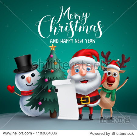 Merry christmas vector banner design with christmas character like santa claus  reindeer and snowman holding wish list and a christmas tree element in background. Vector illustration.