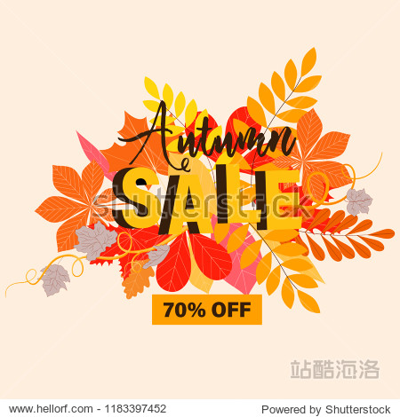 Autumn sale poster. Autumn background. Leaves on light yellow background and place for text.
