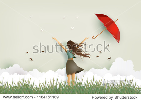 Illustration of  woman's day Funny beautiful girl and red umbrella on the field .paper art and craft style.