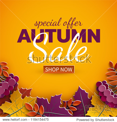 Autumn sale banner  3d paper colorful tree leaves on yellow background. Autumnal design for fall season sale banner  special offer poster  flyer  web site  paper cut art style  vector illustration