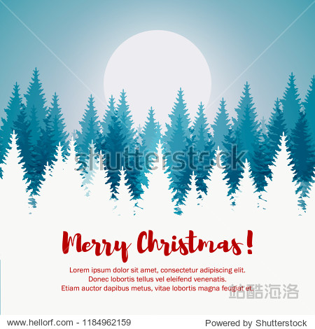 Merry Christmas and Happy New Year greeting card. Christmas tree winter landscape.
