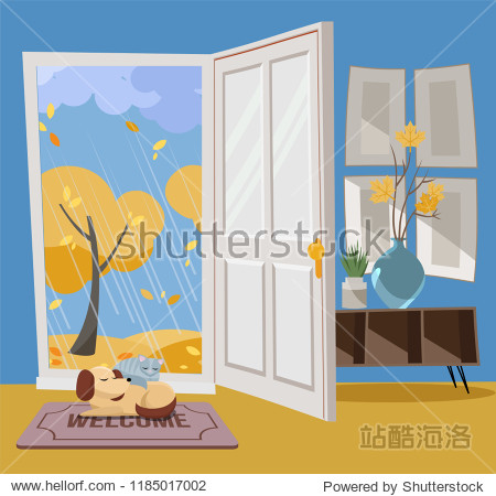 Open door into autumn view with yellow trees. Autumn interior with a coffee table  vases  door mat  sleeping cat and dog. Sunny good weather outside. Flat cartoon style vector illustration.