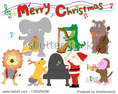 Christmas concert at the zoo. The animals enjoy Santa Claus and music.