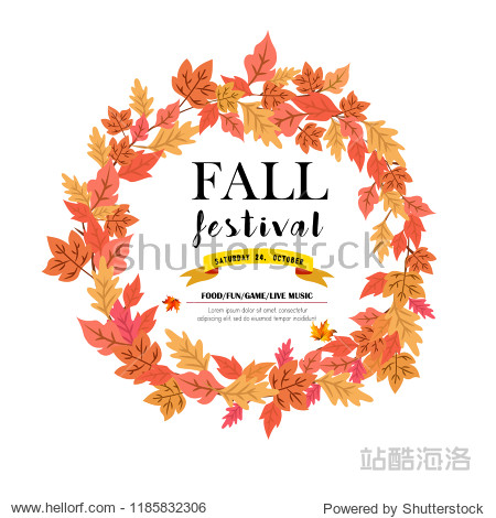 Illustration of Autumn Pumpkin and leaves Autumn poster of fall foliage  maple leaf and pumpkin  aspen or birch leaves design for autumn seasonal greeting card.
