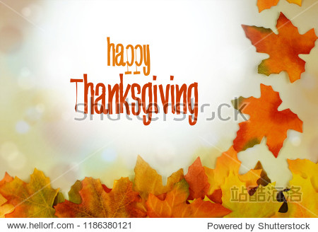Autumn leaves form a bborder against a bokeh background with sunflare and seasonal colors. Seasonal text message added.
