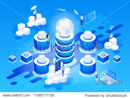 Concept of data network management .Vector isometric map with business networking servers  computers and devices.