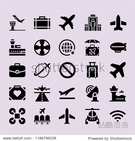 Simple modern set of  airplane icons such as control tower plane helicopter airport drone signal. airplane icons use for seb and mobile.