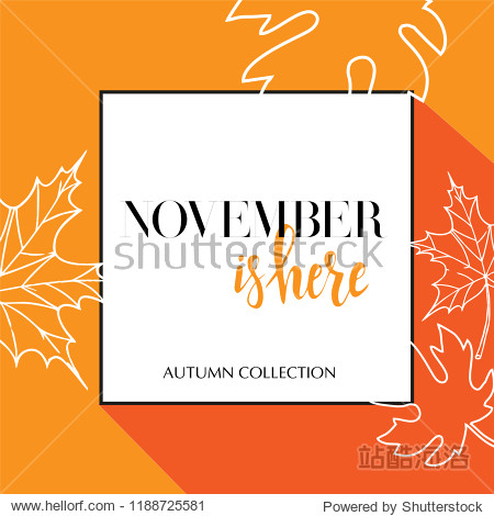 Design banner with lettering october is here logo. Yellow Card for fall season with black frame and white maple leaves. Promotion offer Autumn Collection with linear maple leaves decoration. Vector