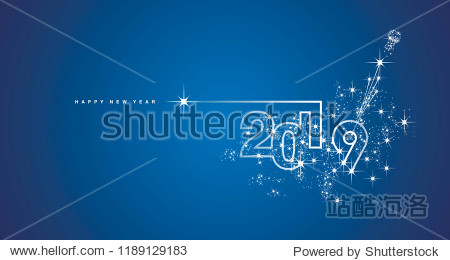 New Year 2019 line design firework champagne white blue vector