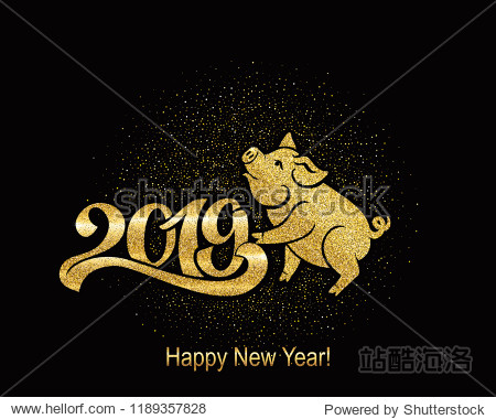 Pig is a symbol of the 2019 Chinese year. Greeting card  golden pig. Vector illustration. Eps 10