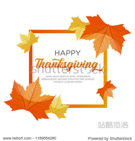 Happy Thanksgiving Day celebrations greeting card design with maple leaves