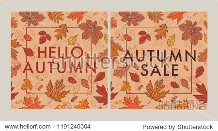 Autumn set. Fall of the leaves. Promotional poster with hand drawn autumn leaves. Vector.