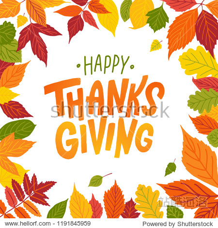 Happy thanksgiving. Hand drawn text Lettering card. Vector illustration. Cartoon style. Typography design for print greetings card  shirt  banner  poster. Colorful