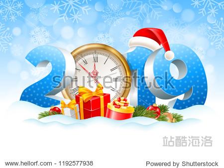 Volumetric digits 2019 and golden clock  gifts  spruce branches  christmas toys in the snow. Winter snowy background. Christmas and New Year festive design. Vector illustration.