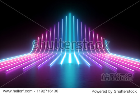 3d render  abstract minimal background  glowing lines going up  arrow  cyber  chart  pink blue neon lights  ultraviolet spectrum  laser show
