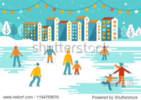 Vector illustration in flat simple style -  Christmas greeting card  banner  poster with people walking and skating outdoors in winter park - happy winter festive season - urban landscape