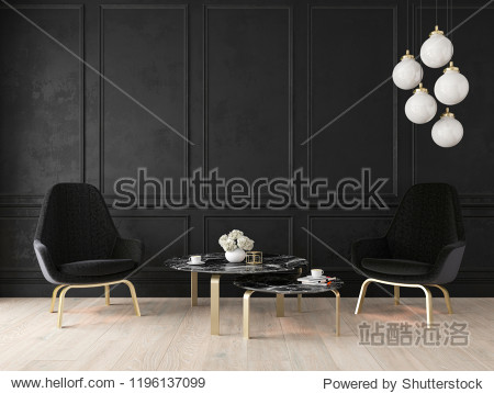 Modern classic interior with armchairs  lamp  table  wall panels and wooden floor. 3d render illustration mock up.