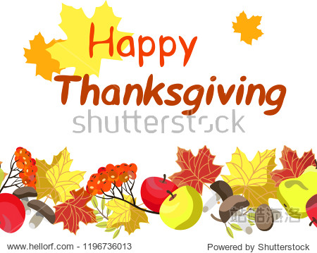 autumn seamless pattern  Thanksgiving  isolated on white background