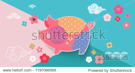 Happy Chinese new year 2019  the year of pig. Vector banner  background