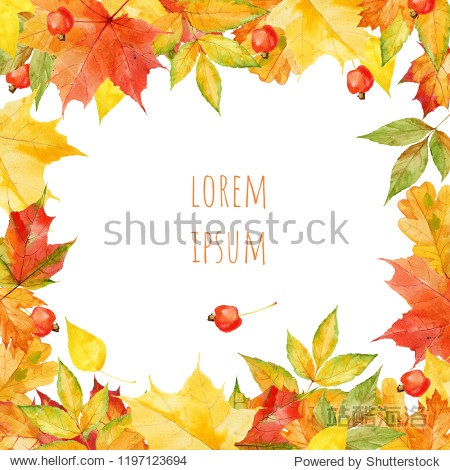 Hand drawn watercolor autumnal leaves design template