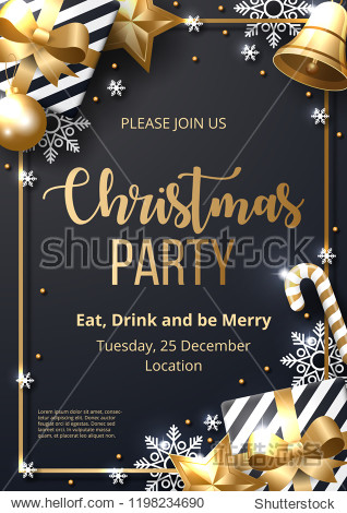 Christmas party poster template with shining gold and white ornaments. Made of snowflakes  gift  candy  bells  star  christmas ball. Vector illustration