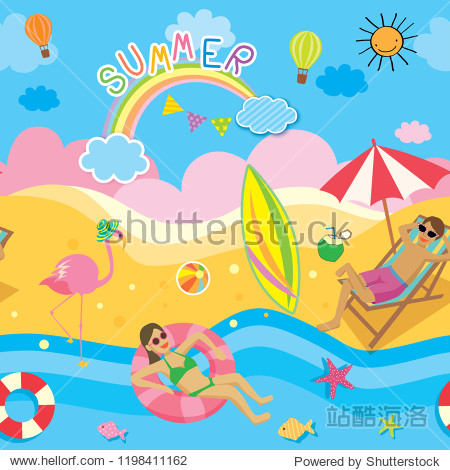 Illustration vector seamless pattern of summer background design with beach activities.