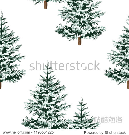 Christmas trees floral seamless pattern white background. Winter forest  wallpaper.