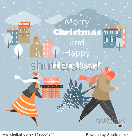 Christmas card with people hurrying with gifts on a cold winter night. Man and woman in cartoon style