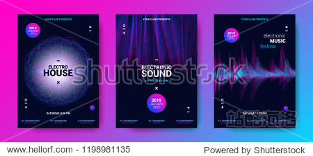 Electronic Sound Poster with Wave Amplitude. Music Flyer Concept with Distorted Rounds and Dotted Lines. Vector Equalizer Design for Banner. Abstract Covers for Dance Event. Festival of Electro Sound.