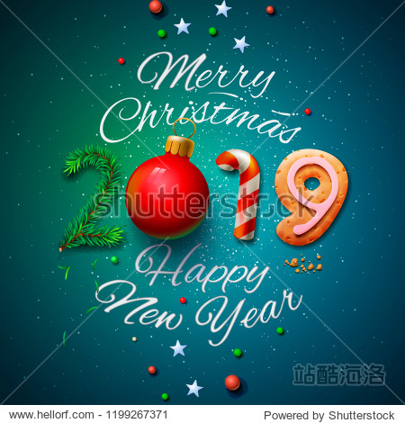Merry Christmas and Happy New Year 2019 greeting card  vector illustration.