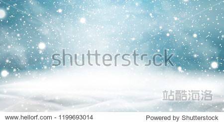 Natural Winter Christmas background with sky  heavy snowfall  snowflakes in different shapes and forms  snowdrifts. Winter landscape with falling christmas shining beautiful snow. vector.