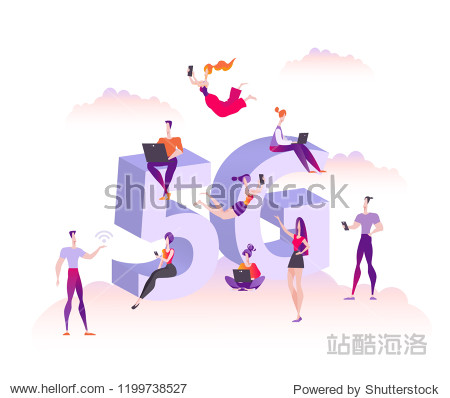 Users with gadgets stand  sit and fly on the background of a large 5g symbol. The concept of distribution and use of high speed wireless connection 5G  vector illustration isolated on white background