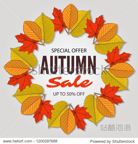 Autumn sale poster of discount promo web banner with fall leaves. Vector illustration.
