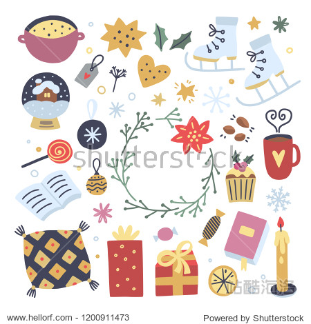 Hygge winter elements on white background. Cute cozy interior objects and illustrations for decoration Christmas greeting cards