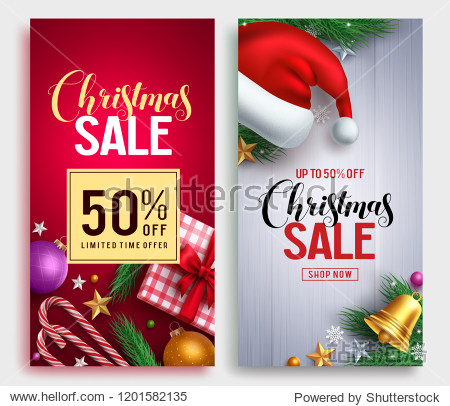 Christmas sale vector poster design set with sale promotional text and colorful christmas elements in red and white background. Vector illustration.