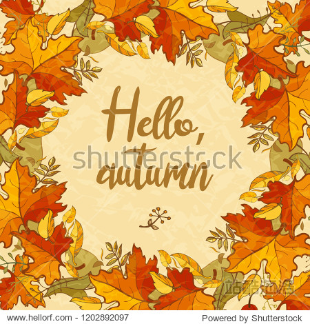 Hello autumn. Colorful textured background of maple leaves. Template for design