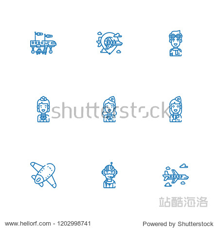 Collection of 9  pilot outline icons include icons such as airplane  stewardess