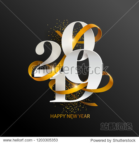 New Years 2019. Greeting card with date and ribbon