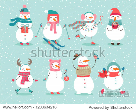 Christmas set with cute snowmen. Funny characters with garland  gift  bird  skates  ski and christmas balls.