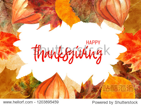 Watercolor thanksgiving frame. Could be used as a template for postcards  invitations  price tags  decoration purposes.