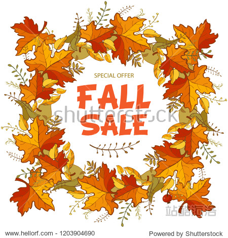Fall sale banner. Colorful leaves background with place for text