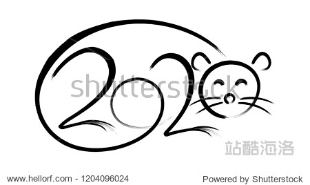 Vector calligraphy 2020 year of the rat sign lettering numbers calendar front page template greeting card design