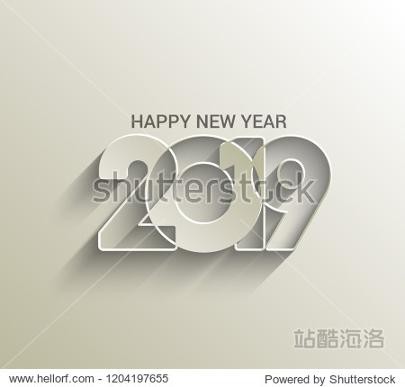Happy New Year 2019 Text Design  Patter  Vector illustration.