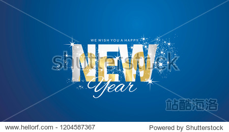 Golden 2019 inside New Year firework blue abstract background