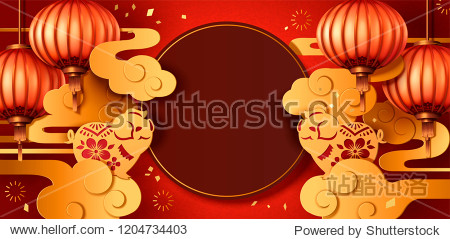 Year of the pig paper art style greeting design with lanterns and golden clouds  two cute piggy at each side