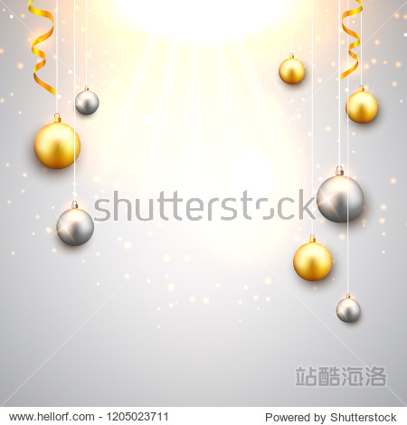 Christmas background with gold and silver christmas balls. Xmas celebration decorative festive design card.
