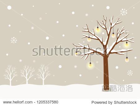 Winter tree with light lamp bulbs.Winter landscape